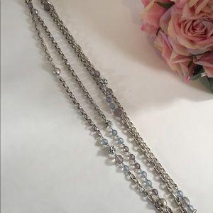 LOFT Jewelry - LOFT Extra Long Beaded Rhinestone Chain Necklace
